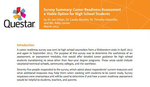 Survey Summary: Career Readiness Assessment a Viable Option for High School Students