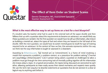 The Effect of Item Order on Student Scores