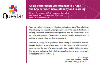 Using Performance Assessments to Bridge the Gap between Accountability and Learning